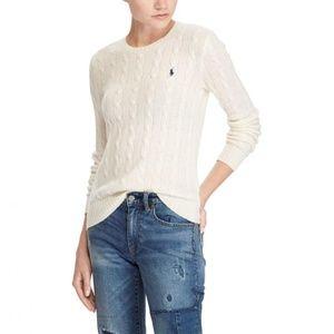 Ralph Lauren Sport Cream Cable Knit Crew Sweater L